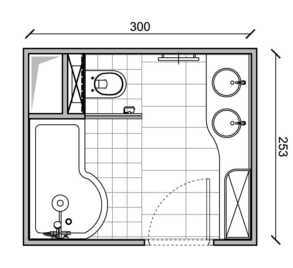 Exemple de plans de salles de bain de taille moyenne avec for Plan sdb 3d
