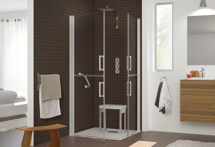 Parois de douche accessibles et fermières pour salle de bains SESAME de Kinedo