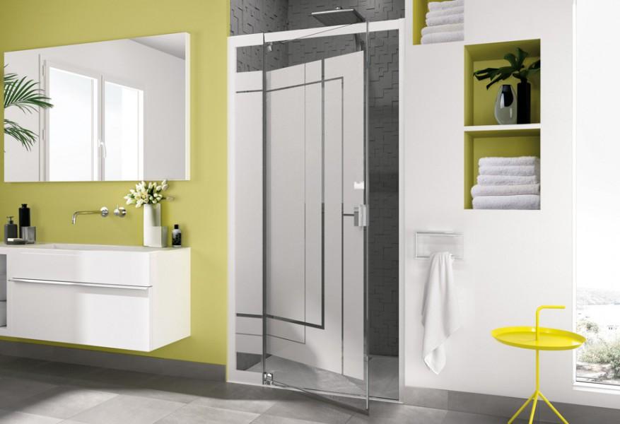 Paroi de douche pivotante pour salle de bains SMART SANS SEUIL de Kinedo