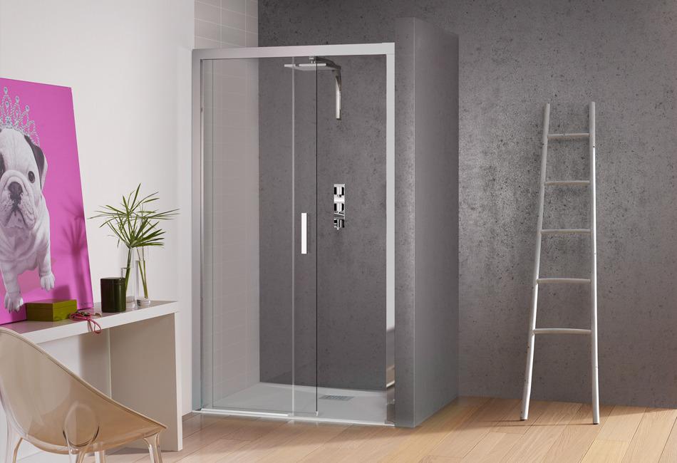 Porte coulissante de paroi de douche kinespace c de kinedo for Porte coulissante encastrable salle de bain