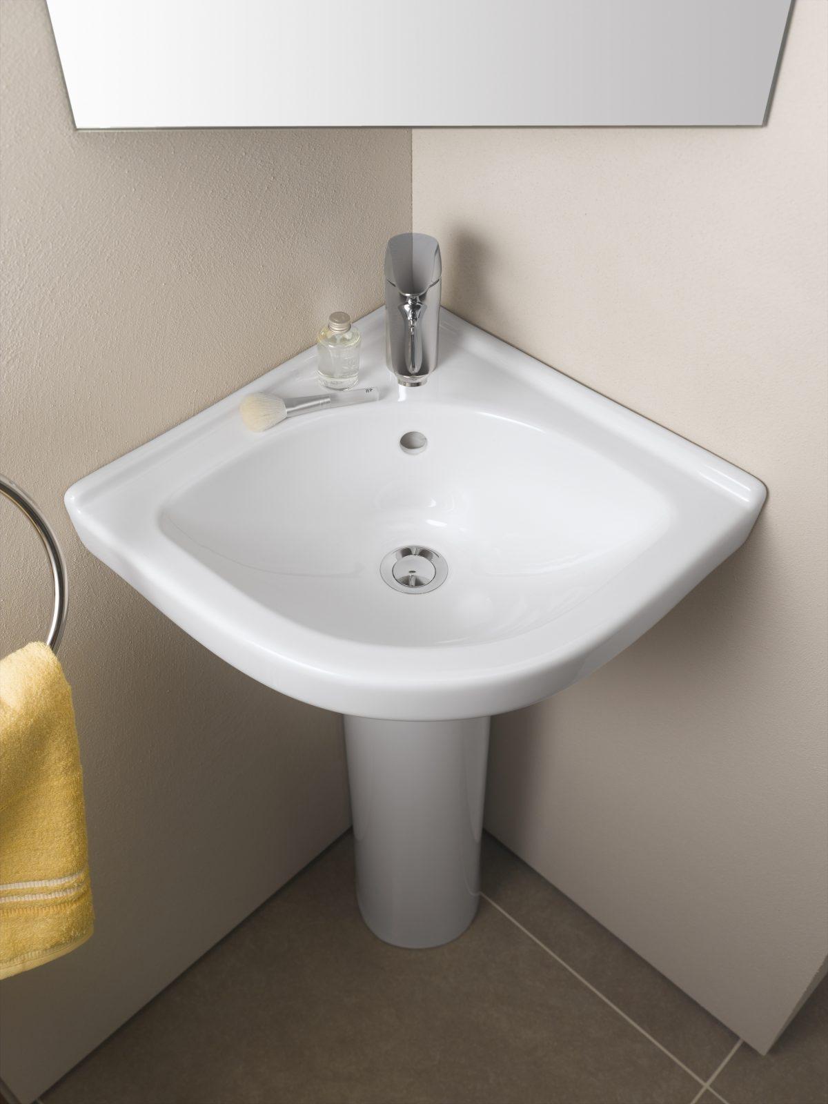 Lavabos d 39 angle de salle de bain fiche produit - Meuble salle de bain avec lavabo ...