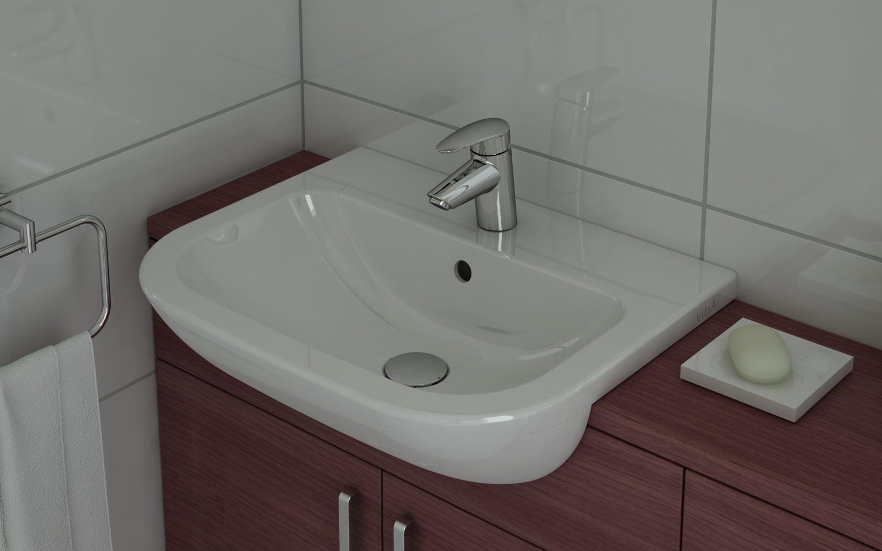 Lavabo de salle de bain semi encastr fiche produit - Comment installer un lavabo de salle de bain ...