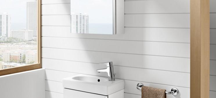 Lavabo lave mains sur meuble mini de roca salle de bains for Mini lavabo salle de bain