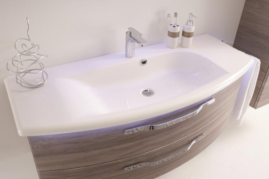 Mobilier courbe gain de place pour salle de bains OPUS d'Alape