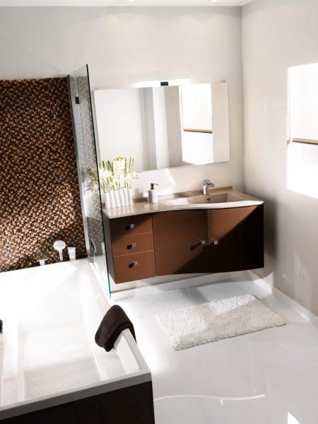 Mobilier asymétrique de salle de bains DELTA d'Ambiance Bain