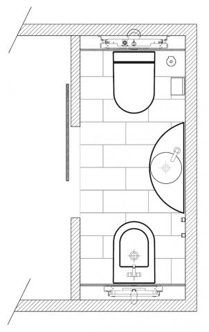 Plan de salle de bains avec WC