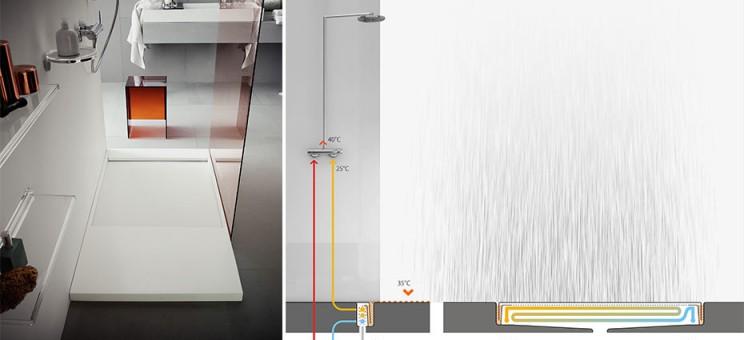 Schéma du receveur de douche avec échangeur de chaleur intégré Laufen