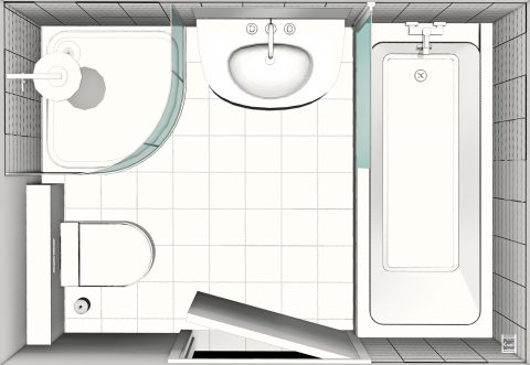 Plan de salle de bains taille moyenne