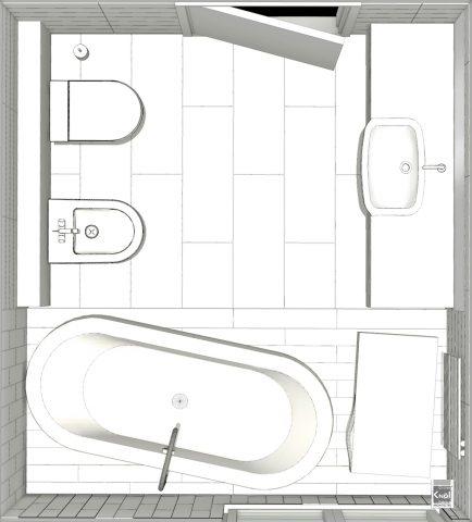 Plan de grande salle de bains