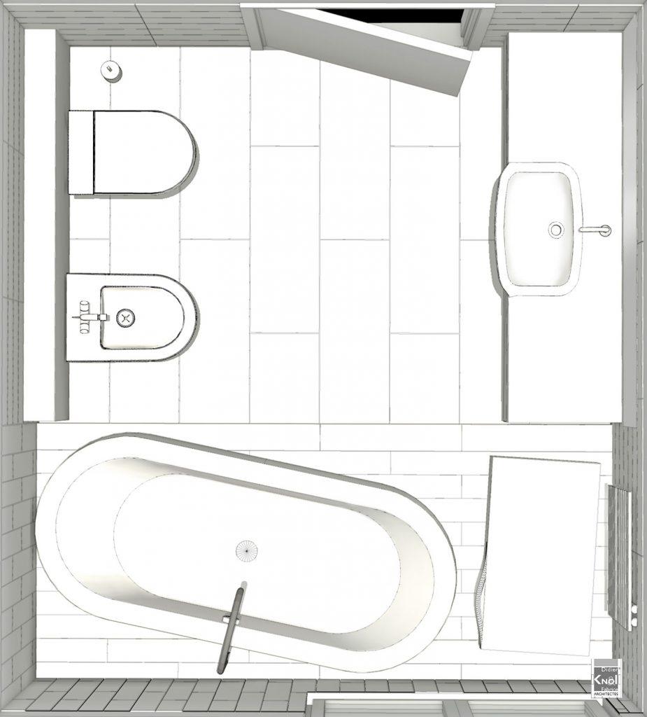 Exemple de plans de grandes salles de bain avec image 3d - Salle de bain buanderie plan ...