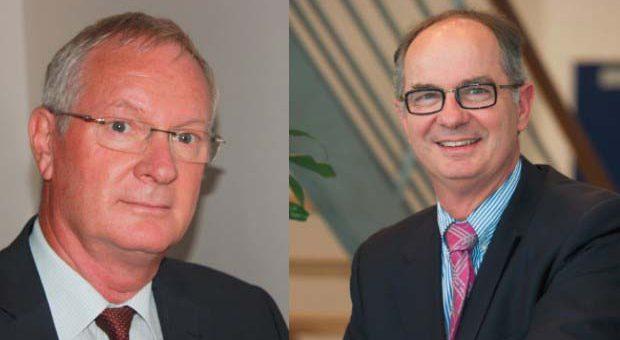 Portrait de Serge Lecat et Yves Danielou, ancien et nouveau président de l'Afisb