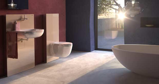 Ambiance de salle de bains avec un panneau WC Monolith de Geberit