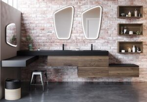 salle de bain avec meuble vasque finition bois foncé