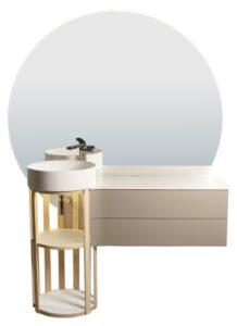 meuble de salle de bains avec un fut à claires voies sur le côté